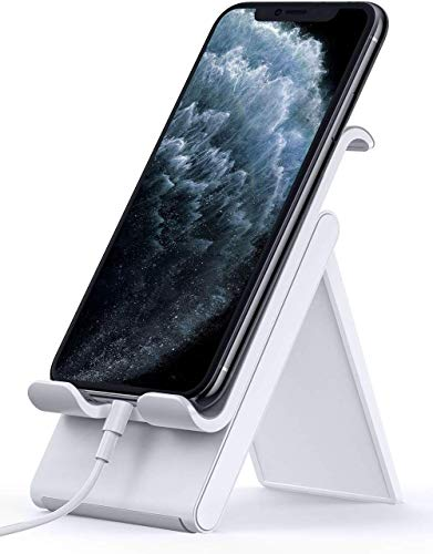 Lamicall Adjustable Cell Phone Stand - Foldable Phone Holder Cradle for Desk, Desktop Charging Dock Compatible with iPhone 11 Pro XS Max XR X 8 7 6S Plus 6 Samsung Galaxy S10 S9 S8 Smartphones - Gray
