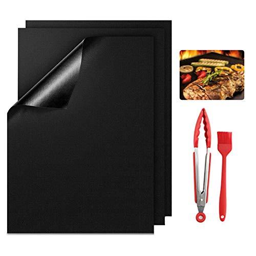 BBQ Grillmatte FDA Teflon Grillmatten Gasgrill Antihaft Grill und Backmatte,Wiederverwendbar PFOA-Frei Toll über Kohle, für Fleisch, Fisch und Gemüse 3er Set 40x33cm Grillspieße+Bürste+Grillzange
