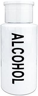 PANA 7 Oz Professional Alcohol-Labeled Push Down Liquid Pumping Bottle Dispenser (White)