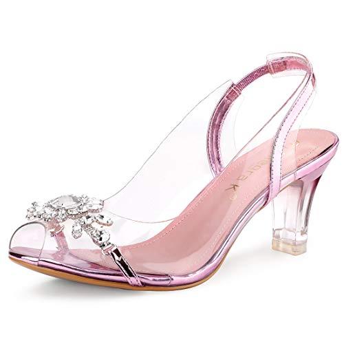 Allegra K Women's Clear Slingback Flower Rhinestone Peep Toe Heels Pink Sandals - 8 M US