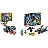LEGO Creator 3 In 1 Cyber-Drone, Cyber-Mech, Cyber-Scooter & Super Heroes Dc Batman All'Inseguimento Del Pinguino Con La Bat-Barca, Imbarcazione Giocattolo Per Bambini Di 4 Anni, 76158