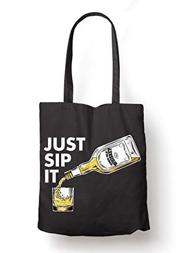 BLAK TEE Good Old Whiskey Just Sip it Organic Cotton Reusable Shopping Bag Black