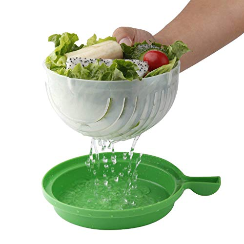 Edenware Upgraded Salad Cutter Bowl, Green - Salad Maker, Premium Fresh Fruit Vegetable Salad Bowl Cutter Salad Slicer Salad Chopper - Make Your Salad in 60 Seconds