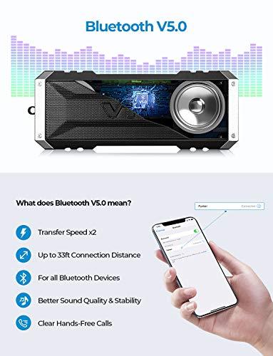 VTin 20W resistente al agua altavoz Bluetooth, 25horas de tiempo de reproducción portátil al aire libre Altavoz Bluetooth, altavoz inalámbrico para iPhone, piscina, playa, coche, hogar