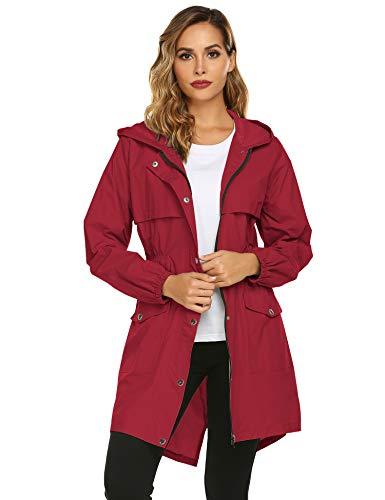 Avoogue Raincoat Women Waterproof Lightweight Trench Raincoat Hooded Outdoor Hiking Jackets Red