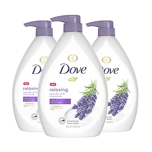 Dove Relaxing Body Wash Pump Calms & Comforts Skin Lavender Oil and Chamomile Effectively Washes Away Bacteria While Nourishing Your Skin, 34 oz, 3 Count
