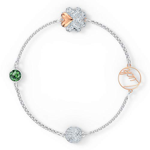 Swarovski Remix Collection Women's Clover Strand Bracelet, Green Crystal Charm Bracelet with Metalwork 'Luck' Message and Mixed Metal Finish Chain