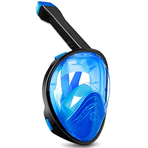 QUWIN Full Face Snorkel Mask, Snorkeling Mask with Latest Dry Top System, 180 Degree Panoramic View Anti-Leak/Anti-Fog with Detachable Camera Mount for Adults (Blue, S)