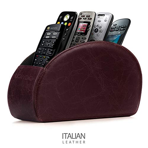 Londo Porta Telecomandi con 5 scomparti - Per contenere telecomandi di TV, stereo, decoder, DVD, Blu-Ray - in Ecopelle con fodera interna in suede. Adatto per salotto o camera da letto. (Susina)