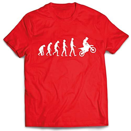 lepni.me Camisetas Hombre Evolución del Motocross Equipo de Moto Ropa de Carreras Todoterreno (Large Rojo Blanco)