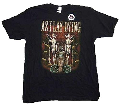 As I Lay Dying Coffin Twin Angels Mens Black T Shirt New Adult