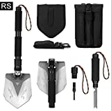 FiveJoy Survival Shovel (RS) - Ultra Durable Military Folding Shovel - Compact Multi-Purpose Camping Shovel - Carbon Steel Hiking Shovel Used in Case of Emergency - Collapsible Backpacking Shovel