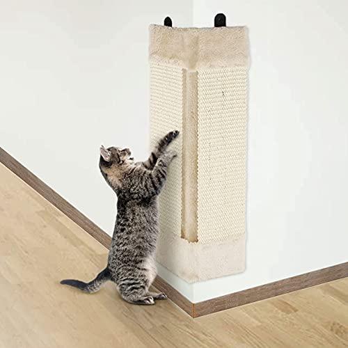 KingSaid Eck-Kratzbrett Katzenkratzbrett Katzenspielzeug 45 × 25 × 3cm Sisalbrett Kratzbrett für Zimmerecken (Beige)
