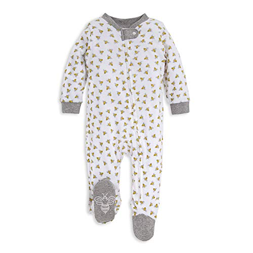 Burt's Bees Baby baby girls & Play, Organic One-piece Romper-jumpsuit Pj, Zip Front Footed Pajama and Toddler Sleepers, Honey Bee, 3-6 Months US