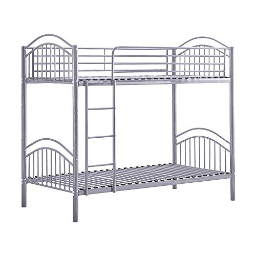 BELIFEGLORY 2 in 1 Metal Bunk Bed, Convertible 2 x 3 FT Single Twin Over Twin Bed Frame with Movable Ladder, Safety Guardrail and Strong Metal Slats for Kids and Adult (Grey)