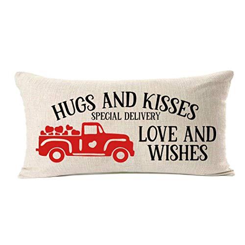 MFGNEH Fundas de almohada decorativas para el día de San Valentín, de lino y algodón, 30,5 x 50,8 cm, decoración para el hogar, regalo de amor y deseos, funda de cojín para sofá cama