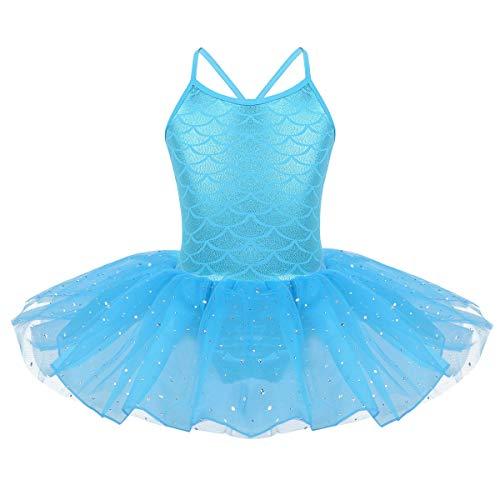 iEFiEL Mädchen Kleid Ballettkleid Kinder Ballett Trikot Ballettanzug mit Tütü Röckchen Pailletten Kleid in Weiß Rosa Türkis (122-128, Himmelblau)