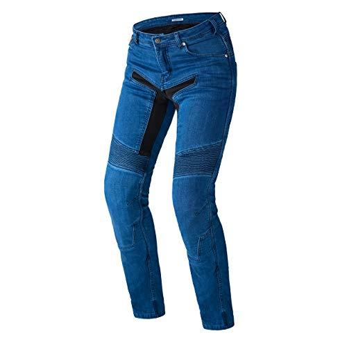 REBELHORN Eagle II Jeans de Motocicleta Durable Kevlar Dupont CE-Level2 Protectores en Rodillas y Caderas Cómodo Elastano 4 Bolsillos Elementos Reflectantes