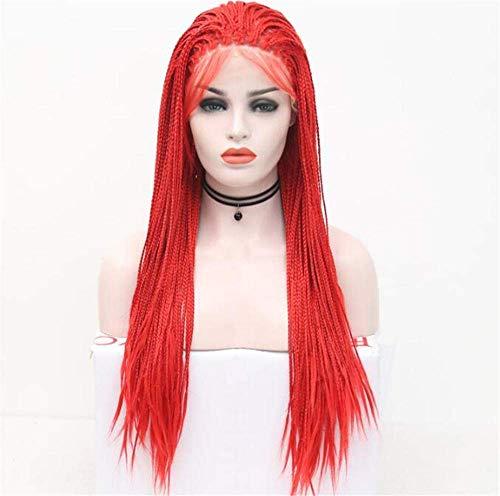 Perücke mit Haar rot Lange gerade Zopf Spitze vorne synthetische Perücke-24 Zoll Cos Play Frauen Spitze Perücken Frauen Perücken