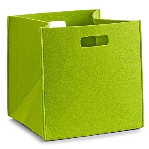 Zeller 14322 Korb, eckig, Filz, grün, ca. 32 x 32 x 32 cm
