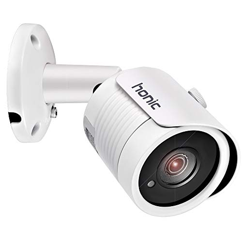 Bright Clear Night Vision 2MP Wide Angle (AHD TVI CVI 960H) Indoor Outdoor Bullet CCTV Camera, Honic 1080P Security IR Analog Camera, Waterproof Full HD Cam for Home Video Surveillance (Metal, White)