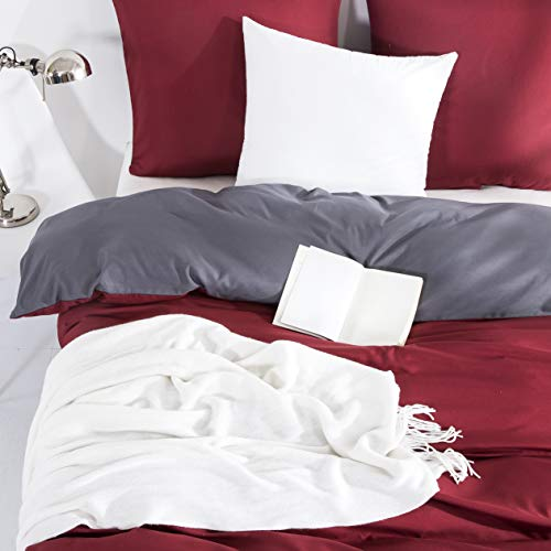 Silky Soft Microfiber Duvet Covers Set King Size - Red & Dark Grey, 3 PCS with Pillow Case Bedding Set, Non-Iron Smooth Feeling with Zipper & Corner Ties, Hypoallergenic & Breathable Quilt Cover Set