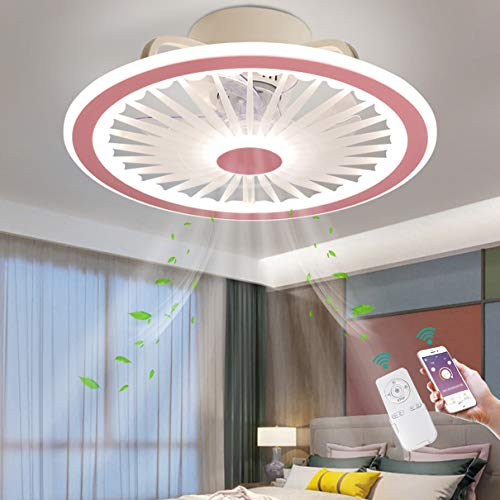 TATANE Invisible Techo Ventilador LED Iluminación App y Control Remoto Ultradelgado Silencio Luz del Ventilador 40W Regulable Lámpara de Techo Moderno Cuarto Sala Tranquilo Ventilador Ø50CM,Rosado