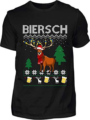 Ugly Christmas T-Shirt Herren Lustig Biersch Ugly Christmas - Kurzarm Shirt Baumwolle mit Motiv Aufdruck - Weihnachten Party Ugly Christmas Fun Saufen Bier m(schwarz, L)