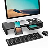 Foldable Monitor Stand Riser, Klearlook 3 Width Adjustable Computer Stand with Storage Drawer Tablet and Phone Stand Holder Desk Organizer for TV PC Laptop Computer Printer Fax Machines [Black]