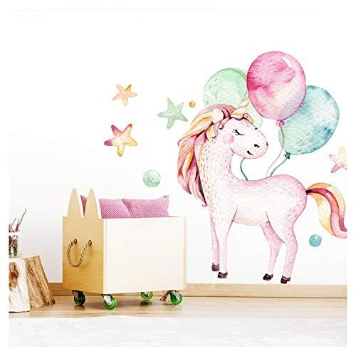 Little Deco Wandtattoo Einhorn & Luftballons I (BxH) 56 x 74 cm I Kinderzimmer Mädchen Babyzimmer Aufkleber Sticker Wandaufkleber Wandsticker Stickers DL141