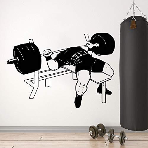 fdgdfgd Bodybuilding Wall Decal Muscles Formation Fitness Sport Barbell Workout Bench Press Gym Intérieur Décor Vinyle Fenêtre Autocollants 42x59 cm