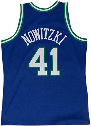 N/W Men's #41_Nowitzki Throwback Swingman Basketball Jersey - Blue S