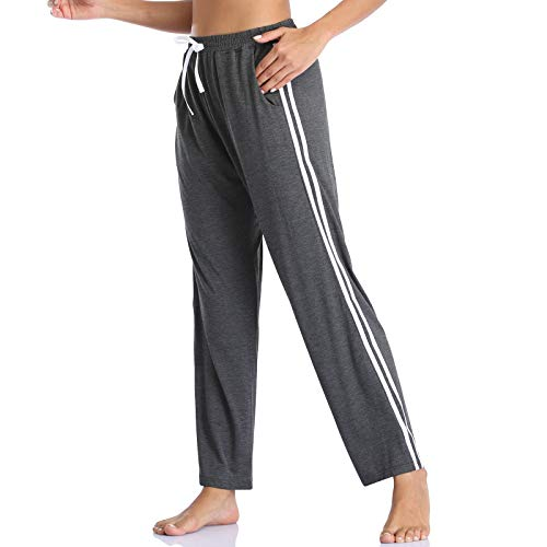 Envlon Womens Yoga Pants Wide Leg Stretch Workout Running Pants Lightweight Side Stripe Athletic Pants with Pockets Dark Grey