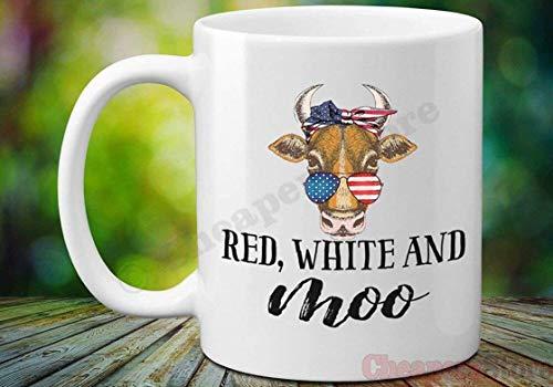 N\A ACA con Taza de pañuelo de Bandera, Rojo, Blanco y moo Taza patriótica de Vaca, Taza del día de la Independencia, Bandera Estadounidense Amantes de la Vaca Presente, 4 de Julio Taza