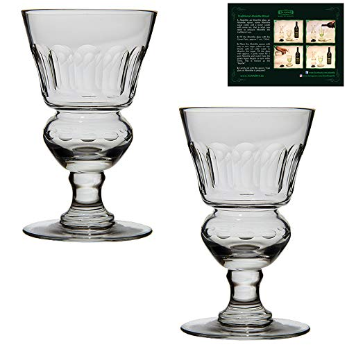 ALANDIA Juego de Vasos de Absenta 2X Vasos soplados a Boca con depósito   Incl. Instrucciones para Beber