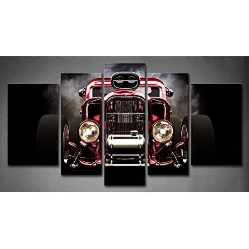 Black /& White Mini Car Vintage Retro LED Wall Mounted Canvas Print