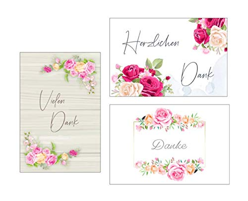 3 Premium Dankeskarten (Klappkarten) mit 3 weißen Umschlägen, Danke, Dankeschön, Karten, Dankekarten, Hochzeit, Geburt, Baby, Taufe, Abschied, 3eburtstag, Jubiläum Blumen Blumenmotiv