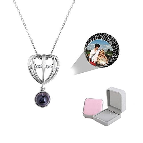 wikkeny Collar ProyeccióN Personalizado, Te Amo 100 Idioma Foto Personalizada 925 Plata Esterlina Colgantes Collar Memoria Amor Regalo para Mujer-Plata