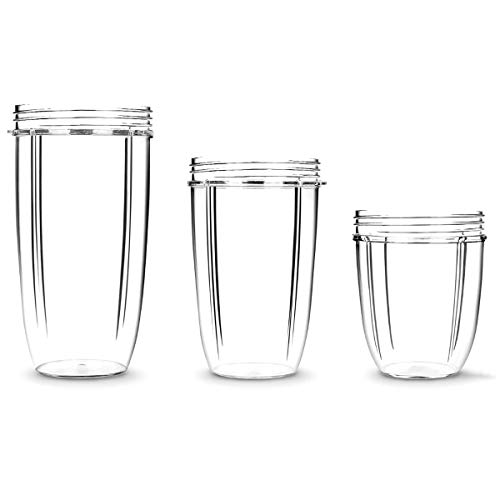 Hito-Goods Nutribullet Accessory,3pcs Nutribullet Cups 18oz+24oz+32OZ,Clear Cups Mugs Replacement Part Juicer Accessories for NUTRIBULLET Nutri Bullet 900W 601W Blender Juicer