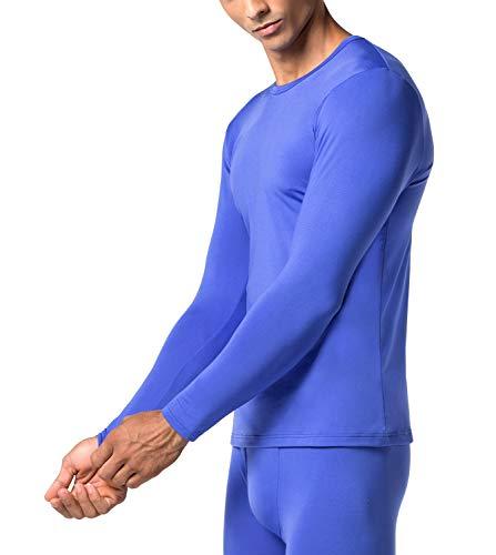 LAPASA Herren 2 Pack Dünne Innenfleece Thermounterwäsche Oberteil Ski Funktionsunterwäsche Thermo-Hemd für Winter M09 MEHRWEG (Blau, L)