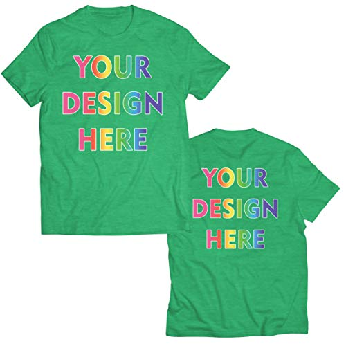 lepni.me Camisetas Hombre Impresión Personalizada de 2 Caras en el Frente y en la Parte Posterior, Texto Personalizado o Diseño de su Propia Imagen (Small Brezo Verde Multicolor)