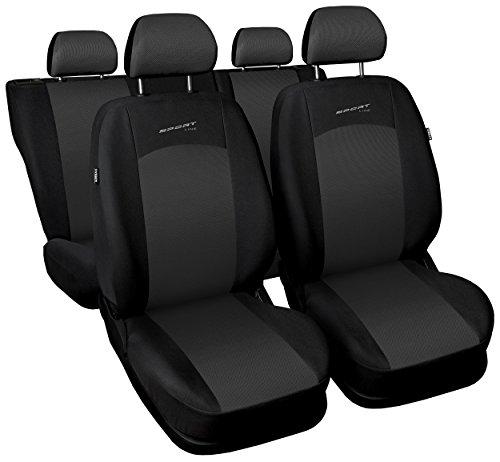Carpendo Sitzbezüge Auto Set Autositzbezüge Schonbezüge Schwarz-Grau Vordersitze und Rücksitze - Airbag geeignet - Sport Line