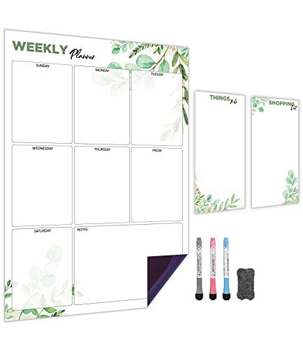 Weekly Magnetic Calendar for Refrigerator (Leaf) | Set of 3 Vertical Magnetic Dry Erase Board: Magnetic Fridge Planner 12 x 17 Inch, Shopping List & to Do List 4 x 8 Inch | 3 Markers & 1x Eraser