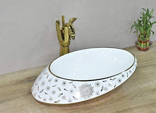 InArt Lavabo Sobre Encimera de Baño Lavabo Porcelana forma ovalada de cerámica para baño Lavabo de Cerámica, Fregadero de sobre Encimera 52 x 38 x 13 CM (Color dorado blanco)