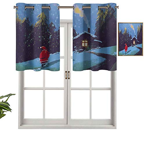 """Hiiiman Short Straight Kitchen Grommet Drapery Valances Christmas Santa Claus Walking to The Mountain House Surrounded by Pines Scenery, Set of 1, 52""""x18"""" for Living Room"""