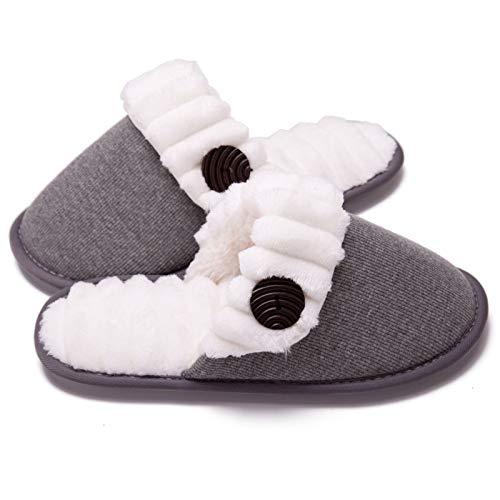 Chanclas de algodón de invierno para mujer, zapatos cómodos para el piso de la casa de espuma viscoelástica de punto borroso para mujeres, para familias, parejas, cálido antideslizante,Gris,38~39