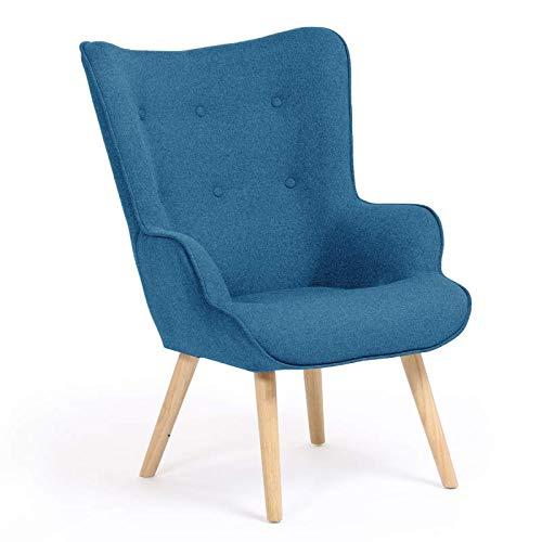 IDMarket - Fauteuil scandinave Ivar en Tissu Bleu Canard