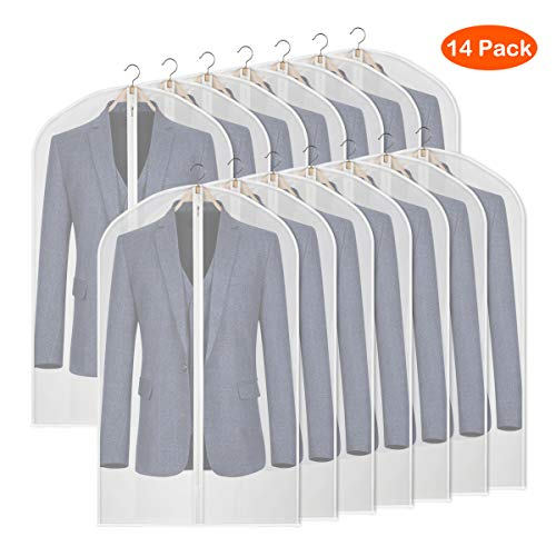 Syeeiex 14Pcs Clear PEVA Dress Bags for Storage 40