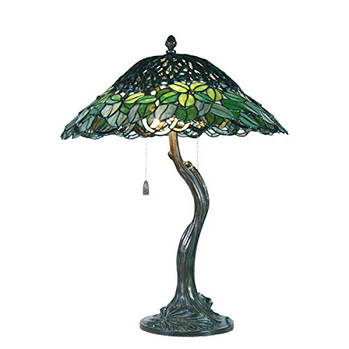 Lumilamp 5LL-5386Tischleuchte Tischlampe Tiffany Stil Baum Grün Ø 47 * 58 cm 2X E27 max 60w. dekoratives buntglas Tiffany Stil handgefertigt glasschirm