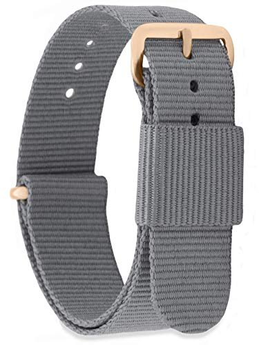 MOMENTO Damen Herren NATO Nylon Ersatz Uhren-Armband Strap mit Edelstahl-Schliesse in Rose-Gold und Nylon-Armband in Grau 22mm